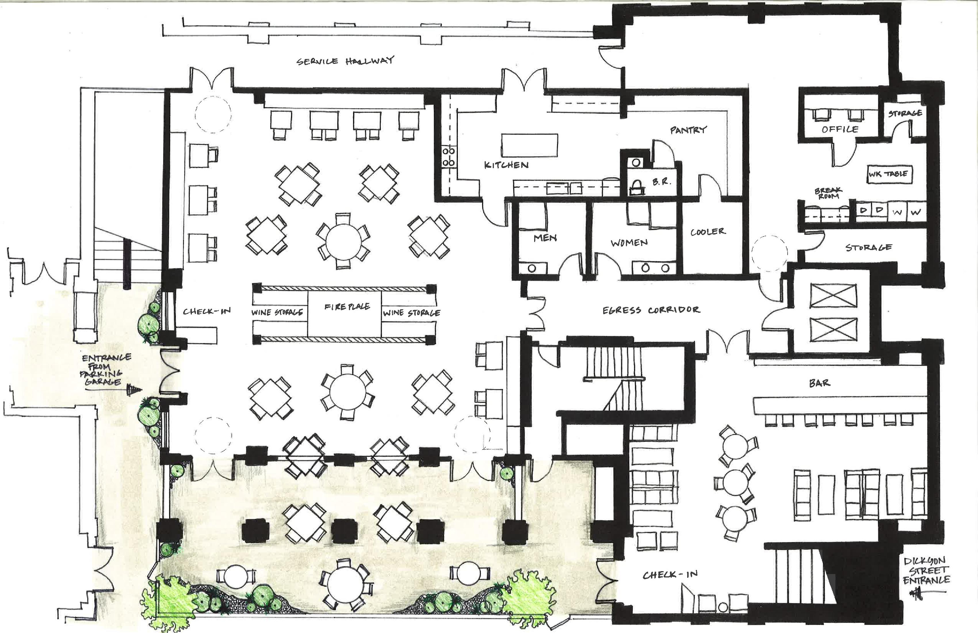 Designing a restaurant floor plan home design and decor Rest house plan